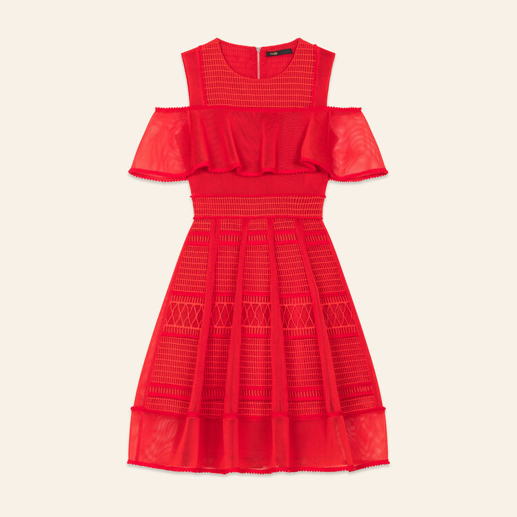 Mesh sleeveless dress : Dresses color Red