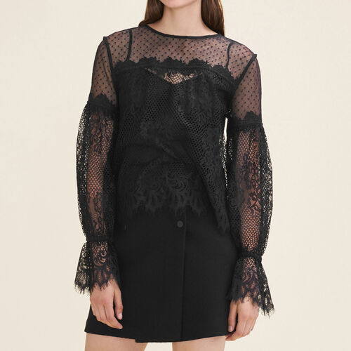 Lace and dotted Swiss top : Tops color Black 210