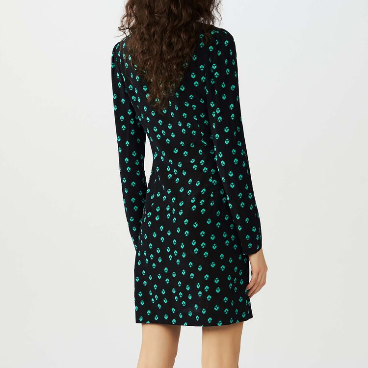 Printed V collar dress : Dresses color PRINTED