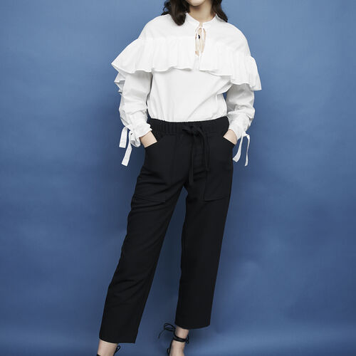 Crepe wide leg pants : Trousers color Navy