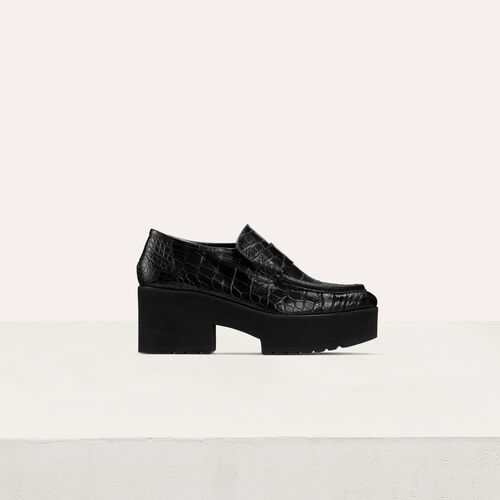 Crocodile-style leather : Office girl color Black 210