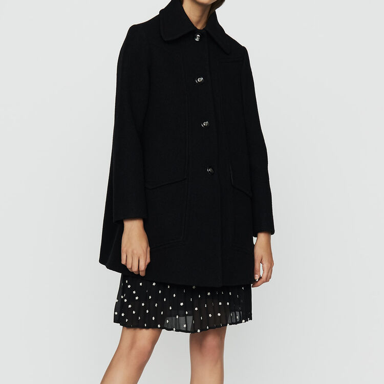 Wool trapeze coat : Coats color Black 210