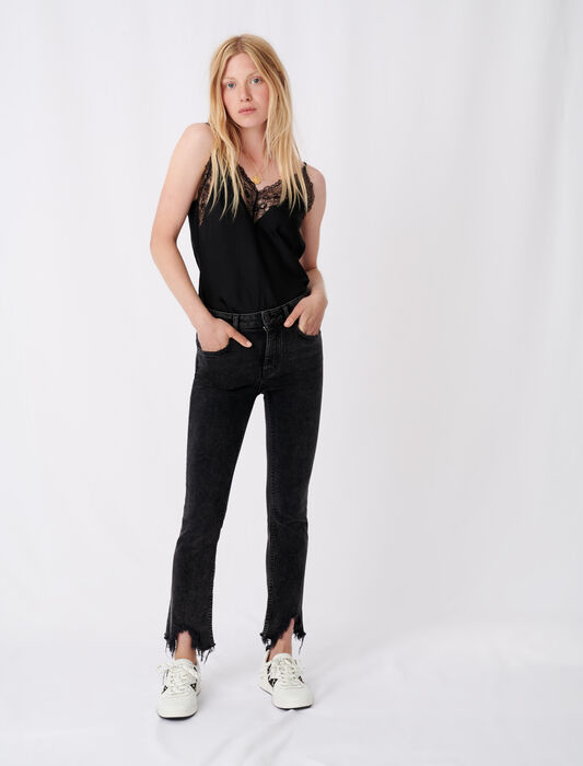 Straight cut ripped jeans : Trousers & Jeans color Anthracite