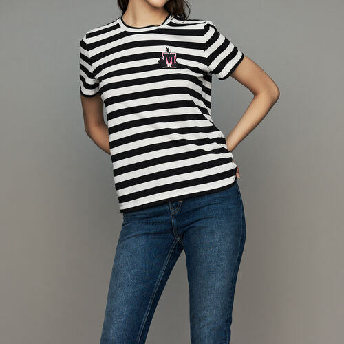 Striped cotton T-shirt with crest : Ready to wear color Stripe