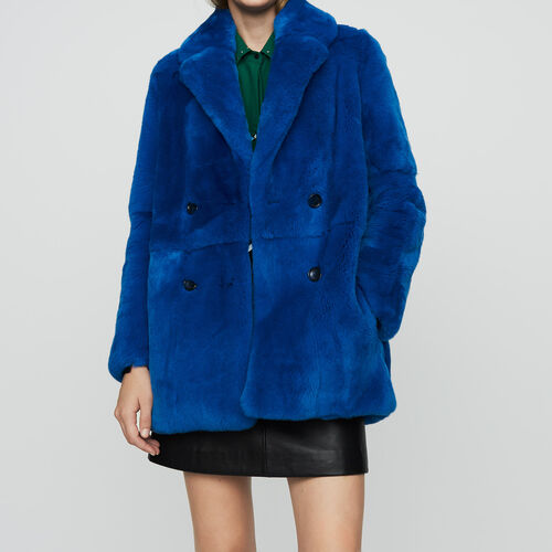 Cropped fur coat : This week color Blue