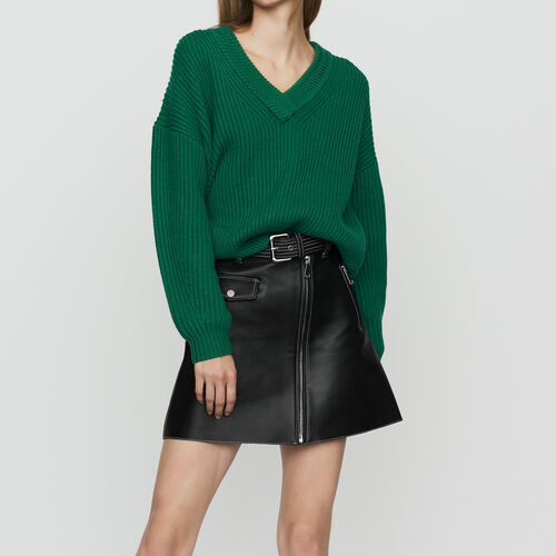 Oversized sweater in wool blend : Knitwear color Black 210
