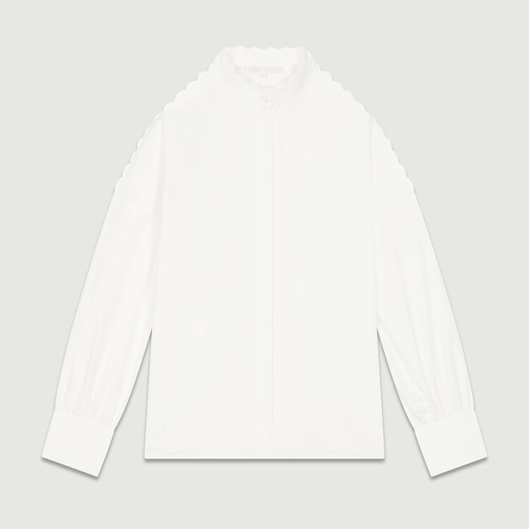Bare shoulder cotton shirt : Shirts color WHITE