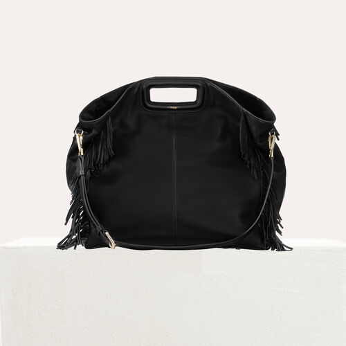 Tote with leather fringe : M Walk color Black 210