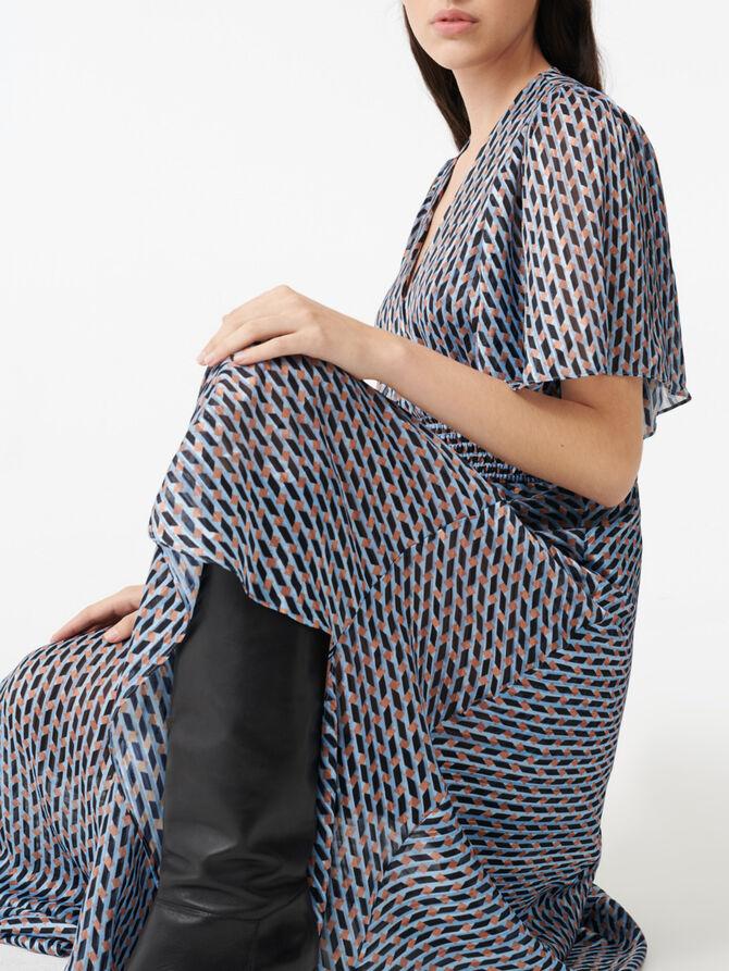 Lurex jacquard print scarf dress - Dresses - MAJE