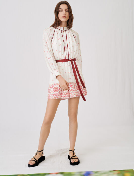 Belted embroidered playsuit : Jumpshort & Jumpsuits color Red