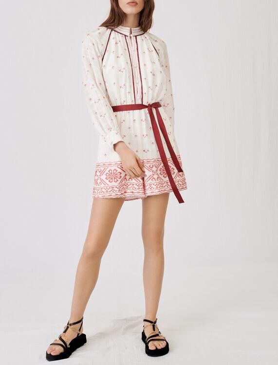 Embroidered, belted playsuit - Jumpshort & Jumpsuits - MAJE