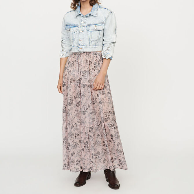 Long floral-print cotton voile skirt - staff private sale 20 - MAJE