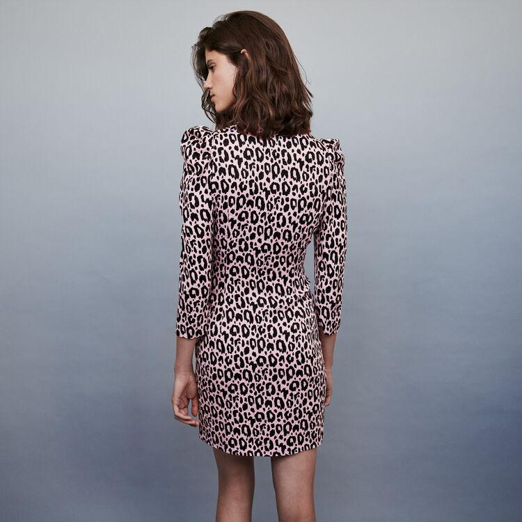Draped printed-jacquard dress : Dresses color Pink
