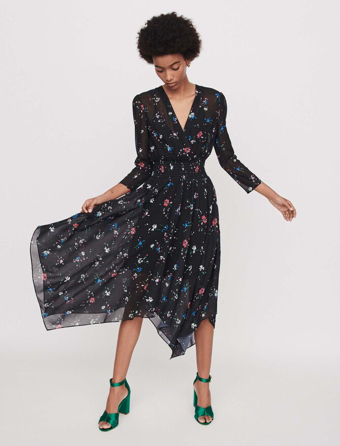 Printed-muslin scarf dress - Dresses - MAJE