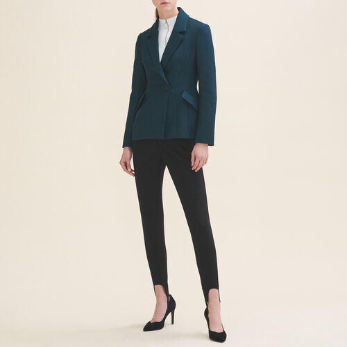 Structured jacket with peplum : Blazers & Jackets color GREEN