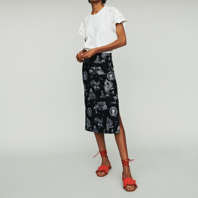 Midi skirt in embroidered crepe - See all - MAJE