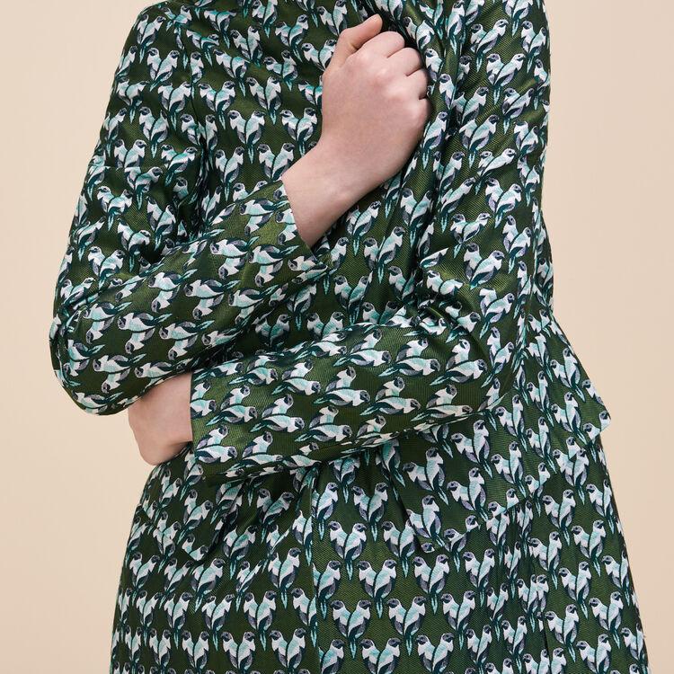 Straight-cut jacquard coat - Pretty little bird - MAJE