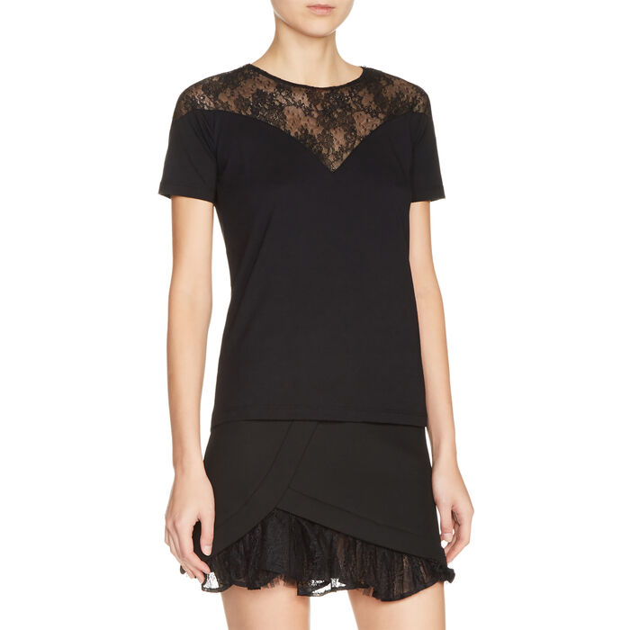 Dual-material top with lace : T-shirts color Black 210