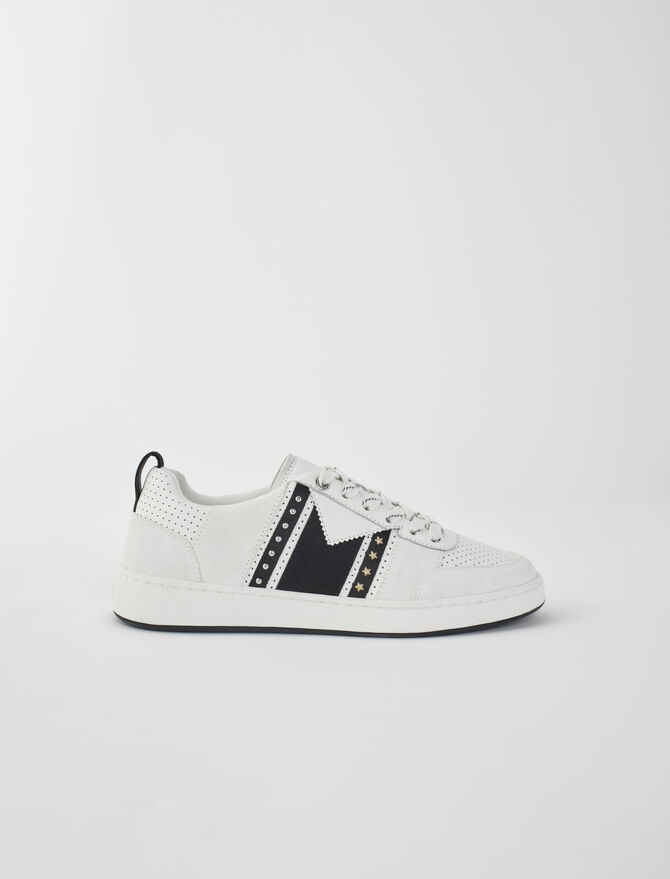 Black and white leather sneakers - All Shoes - MAJE
