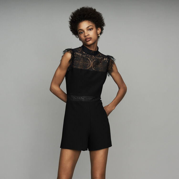 Romper with lace : See all color Black 210