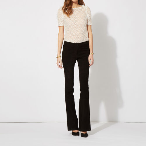 Suede flared trousers : Trousers & Jeans color Black 210