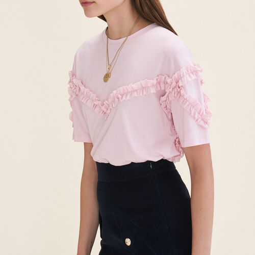 T-shirt with frill detail : T-shirts color Pink