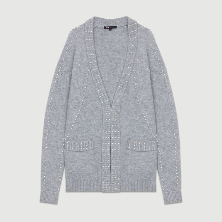 Long knit jacket with pearls : Knitwear color Grey