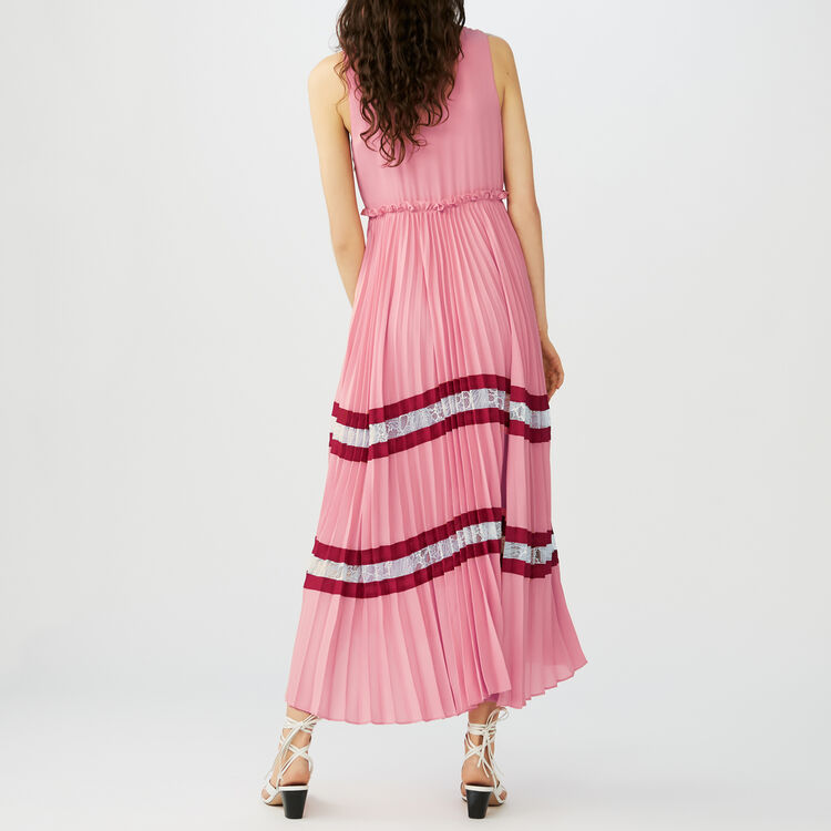 Long pleated dress in crepe and lace : Dresses color Multico