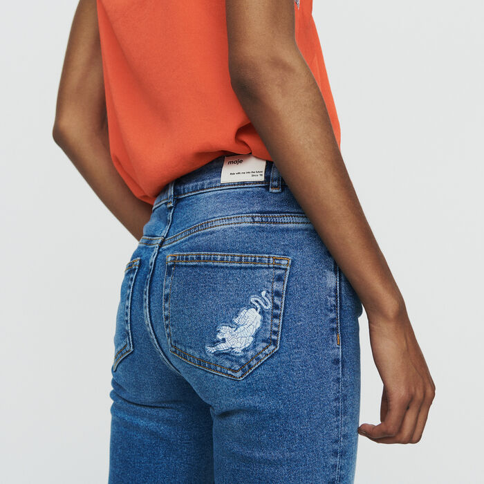 Straight jeans with fringe : Trousers & Jeans color Denim