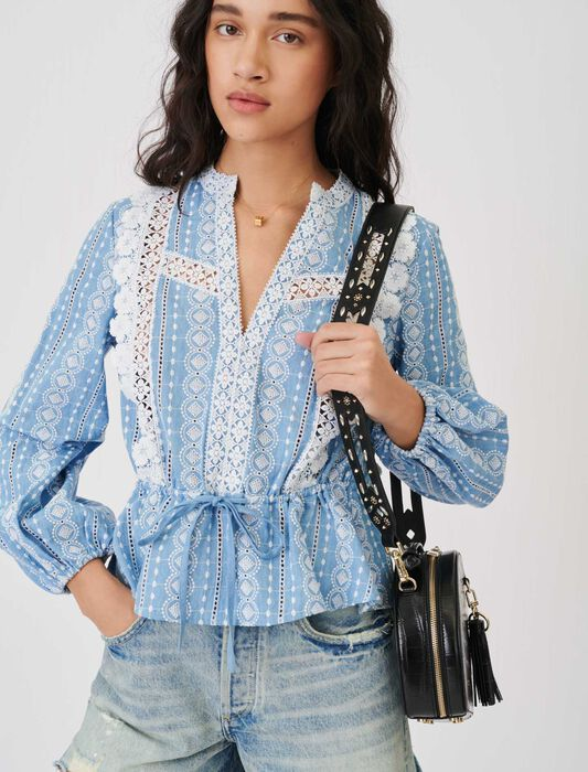 Top with contrasting trims : Tops & Shirts color Light Blue
