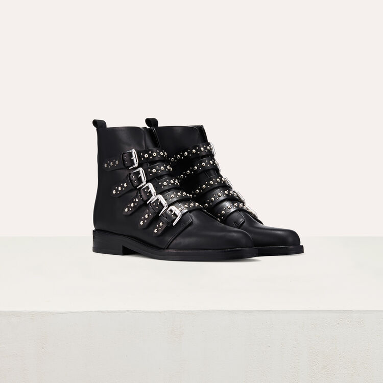 Leather ankle boots with studs : Shoes color Black 210