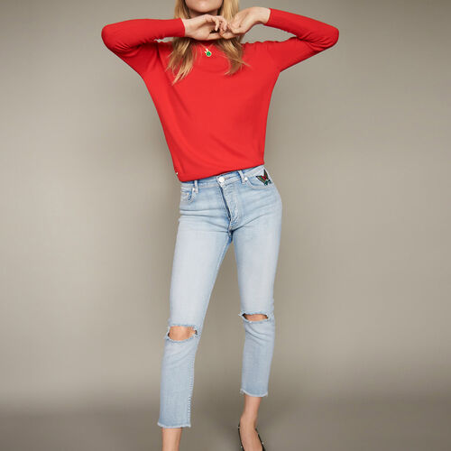 Cropped faded denim jeans : Trousers & Jeans color Denim