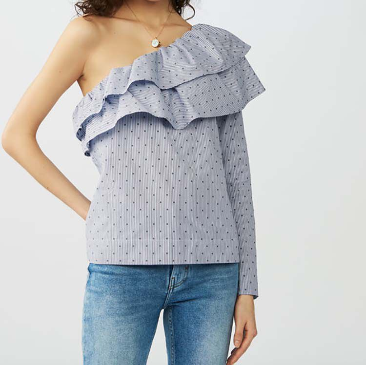Striped top with asymmetric shoulders : Tops color Blue