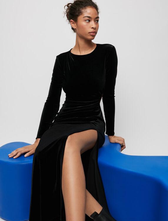 Velvet slit dress - Dresses - MAJE