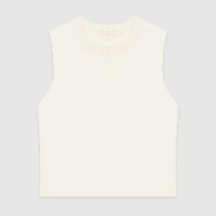 Sleeveless sweater in mixed cotton : Knitwear color ECRU