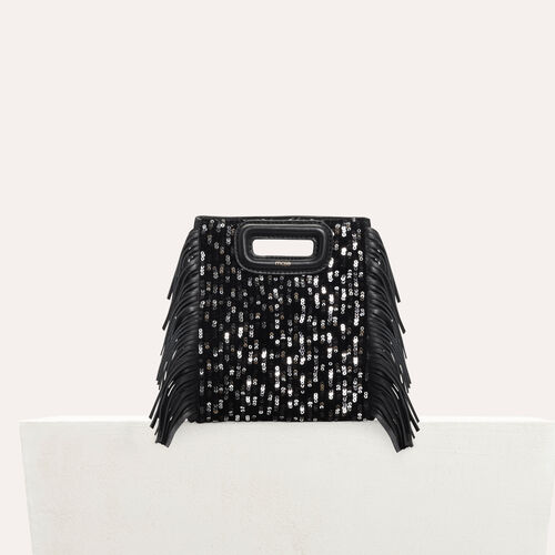 Mini M bag in leather with sequins : Leather color Black 210