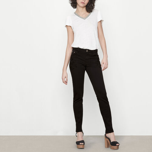 Embroidered high-waist jeans : Trousers & Jeans color Black 210