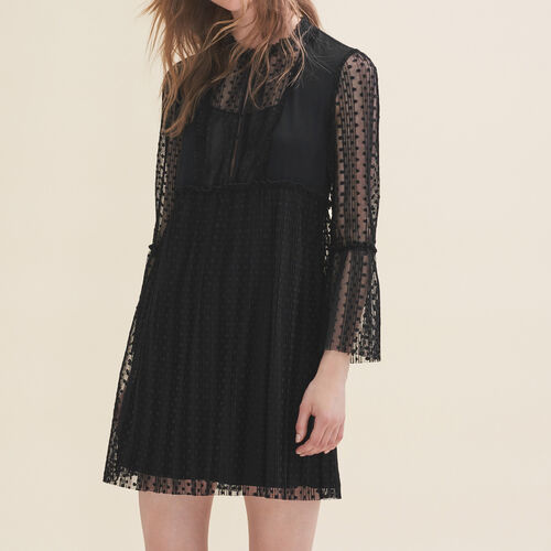 Flowing dress with dotted Swiss - Dresses - MAJE