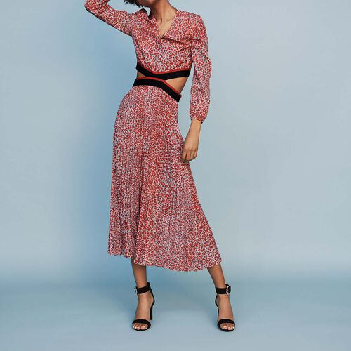 Long pleated dress in leopard print : New collection color PRINTED