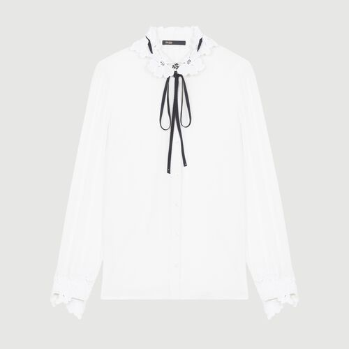 Blouse with guipure detailing : Shirts color White