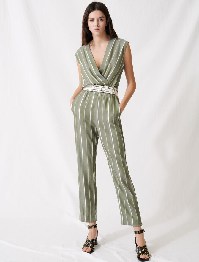 Striped jumpsuit -  - MAJE