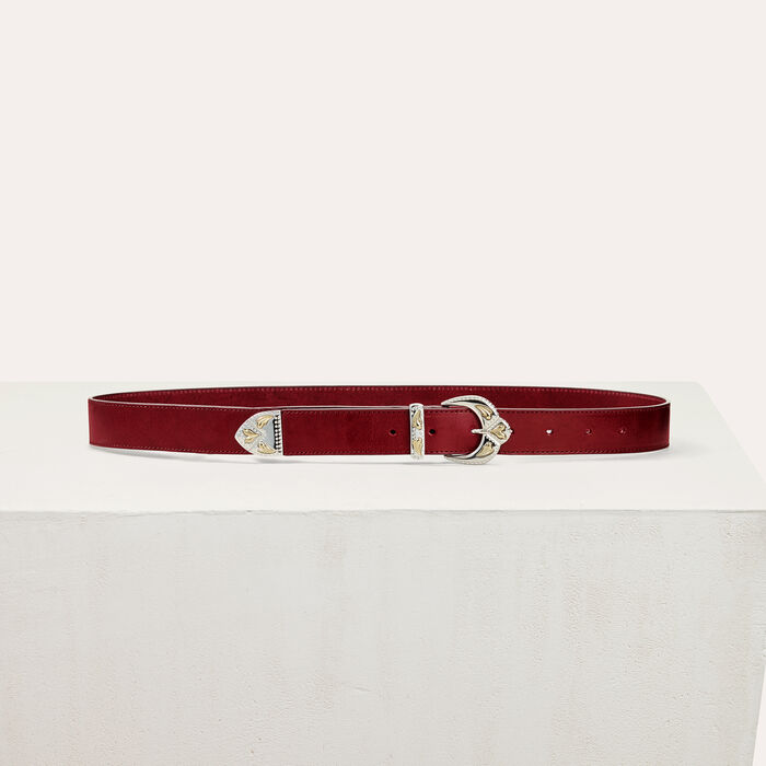 Scalloped buckle leather belt : Accessoires color Burgundy