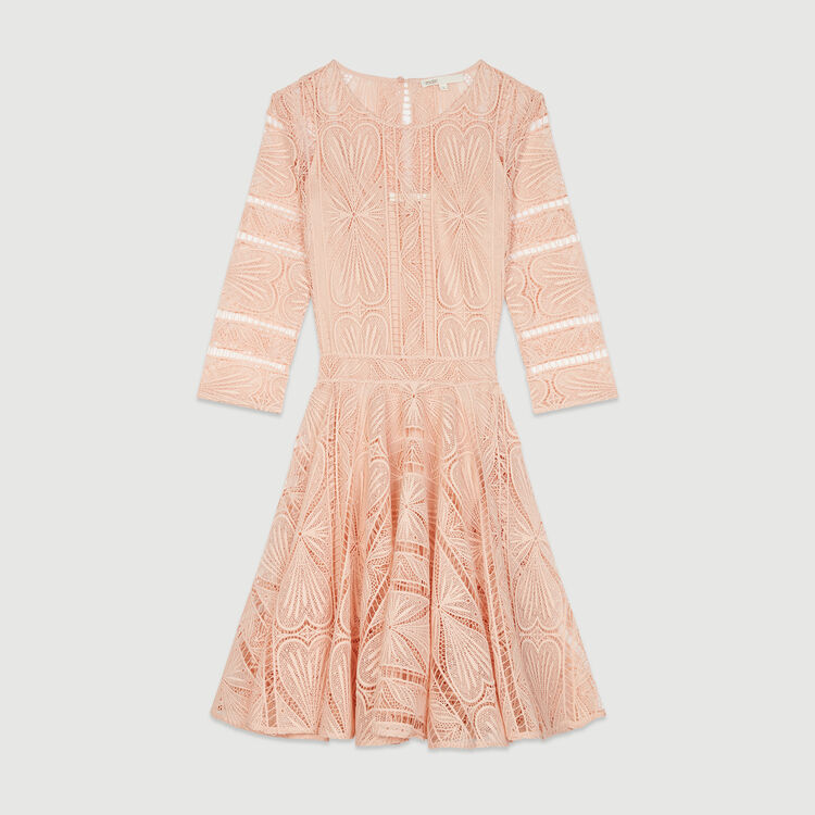 Short dress in guipure : Dresses color Terracota