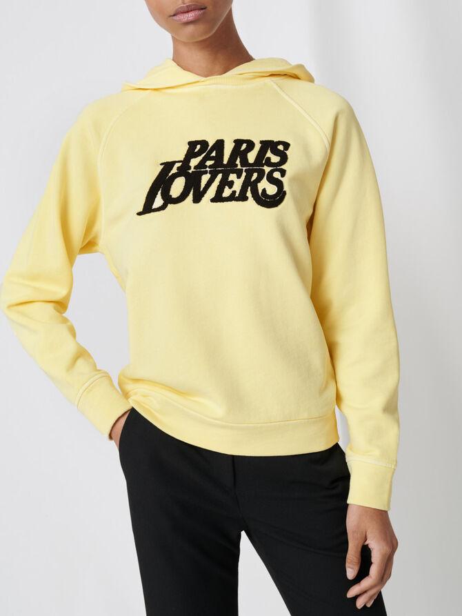 Embroidered yellow sweatshirt - Knitwear - MAJE