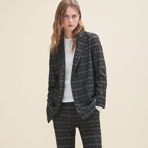 Long tartan jacket : Blazers color Jacquard