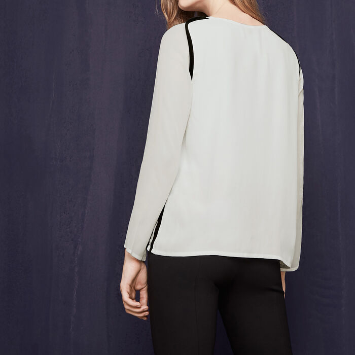 Flowing top with piping : Low Prices color Ecru