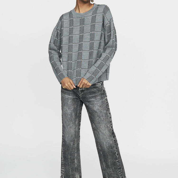 Oversized sweater in jacquard knit : Knitwear color CARREAUX