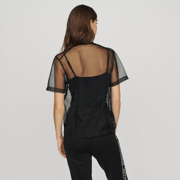 Organza top with slogan : T-Shirts color Black 210