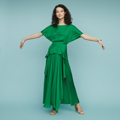 Long asymmetric dress : Dresses color Green