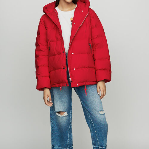 Hooded puffer jacket with zip : staff private sale color Red